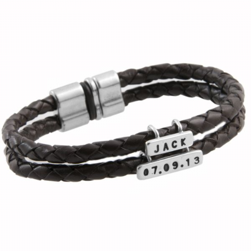 Personalised Double Leather Bracelet